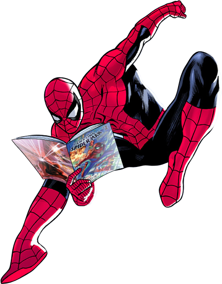 Swinging Spider-Man Reading